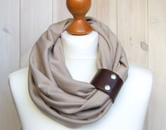 INFINITY Scarf BEIGE Infinity circle Loop with leather cuff, infinity scarves. $29.90, via Etsy.