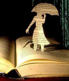 book with woman cutout/unbrella