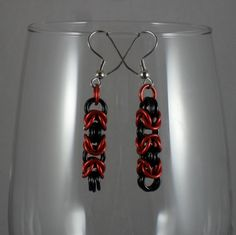 Maris - Red over Black Byzantine Dangle Earrings