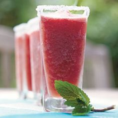 Watermelon-Mint Margaritas—Use leftover watermelon to make this slushy summer drink. Garnish with fresh mint leaves. | SouthernLiving.com