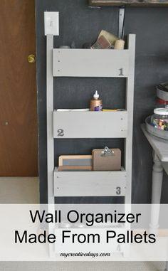 Wall Organizer Made From Pallets mycreativedays.com