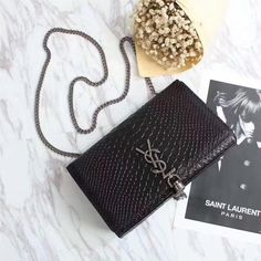 Saint Laurent Medium Kate Chain And Tassel Bag In Python Embossed Leather And Chain Black Outlet Saint Laurent Cheap Sale Store Yves Saint Laurent Bags, Saint Laurent Paris, Ysl Bag, Credit Card Wallet, Tassels, Satchel, Chain, Python, Leather