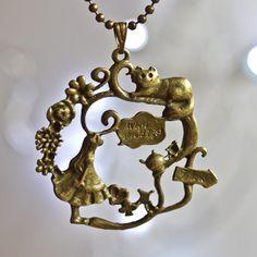 Alice in wonderland necklace  run rabbit bronze by colourharmony, $6.00
