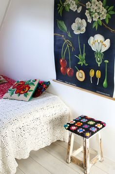 Granny Square topped stool and the anatomy of a cherry (sakura) blossom poster