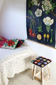 Botanical Poster Crochet Square Stool