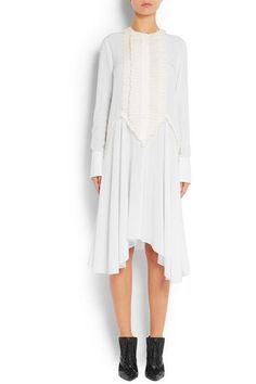 Givenchy - Ruffled Midi Dress In White Silk Crepe De Chine - FR36