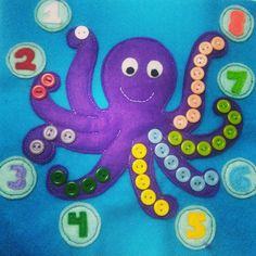 Counting Identifying an octopus has 8 compete legs Diy Quiet Books, Felt Books, Toddler Activities, Activities For Kids, Crafts For Kids, Quiet Book Patterns, Class Decoration, Felt Decorations, Montessori Toys