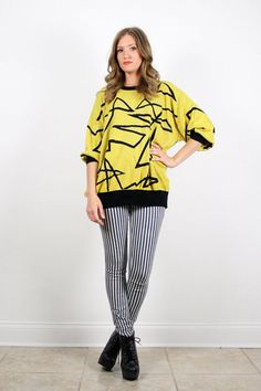 Vintage L XL Yellow Black Color Block by ShopTwitchVintage on Etsy, $34.99