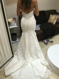 Finally tried my wedding dress on today! Ordered the Matthew Christopher Emma gown in ivory on ivory and it is STUNNING!!!