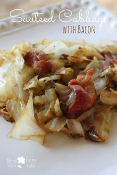 Sauteed Cabbage with Bacon Recipe #bacon #cabbage