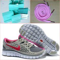 Womens Nike Free Run Gray Pink Shoes $ 49.99