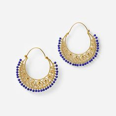 Blue Lapis Moon Bali Heart Filigree Hoops by Isharya India