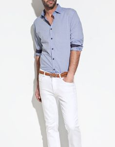 CONTRASTING JACQUARD SHIRT - Shirts - Man - ZARA