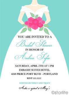Wedding Gown bridal shower invitation  Tiffany Blue  by starwedd, $15.00