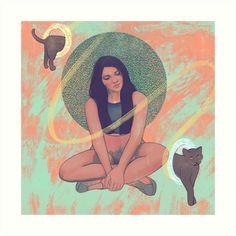 'Cat Portals' Art Print by Anna Tomka Portal Art, Music Fest, Digital Portrait, Buy A Cat, Indie Music, Colour Images, Sell Your Art, Digital Illustration, Print Design