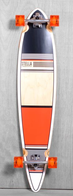 "Stella 46"" Pintail Orange Classic Longboard Complete"
