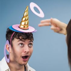 Unicorn Ring Toss Game – It's Okay To Be Weird Place the golden horn on your head and become a unicorn, whilst your friends use you as a target for a fun game of unicorn hoopla. This fun and magical unicorn themed ring toss game includes a shiny golden ho Diy Unicorn Birthday Party, Birthday Party Games, Carnival Birthday, 5th Birthday, Turtle Birthday, Frozen Birthday, Birthday Cake, Unicorn Games, Unicorn Crafts