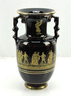 """KE Black & 24k Gold Trim 8"""" Greek Scene Vase Greece"""