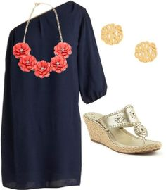 navy dress...with different jewels