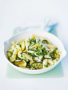 Penne with courgettes, herbs and Parmesan recipe. A delightfully quick, fresh, vegetarian pasta recipe. Vegetarian Pasta Dishes, Quick Vegetarian Meals, Parmesan Recipes, Vegetarian Italian, Veg Dishes, Healthy Dishes, Vegetarian Food, Healthy Foods, Recipes