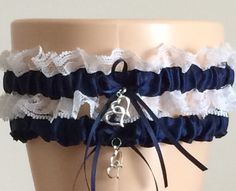Wedding Garter Bridal Garter Sets Navy Blue by WeddingGarterStore