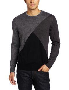 Calvin Klein Sportswear Men's Merino Color Blocked Crew Neck Sweater