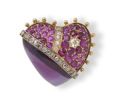 A jewelled 'pierced heart' brooch - Wartski