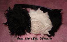 Shabby Rose HeadbandBlack and White Shabby by Emmandjensflowers, $8.00