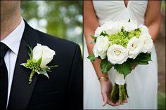 bouquet pour mariage en blanc et vert