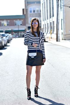 Linear Thinking | spring style, spring outfit ideas, lace up heels, stripes, leather skirt, spring look, spring fashion, nyc street style, fashion blogger #tobebright