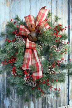 Christmas Wreath, Red Berries, Plaid Bow, Rusty Bells via Etsy.