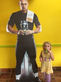 """This little fan is """"not as tall as Jimmy Graham"""" but that doesn't matter, she'll still get her favorite smoothie! Too cute!"""