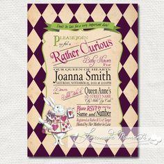 Alice in Wonderland Invitation / Mad Hatter Tea Party - Printable Birthday or Wedding /  Baby Shower - Purple. $20.00, via Etsy.