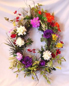 Spring Oval Grapevine Door Wall Wreath Artificial by ZazzyFlorals