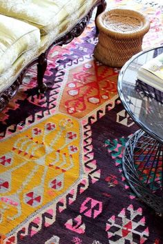 Beautiful Kelim Carpet … Love the colours … I do actually hate Kelims but this one is lovely!