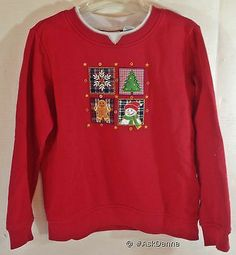 Christmas Sweatshirt RED Kim Rogers PETITE Small SM Snowman UGLY XMAS Sweater #ugly #christmas #sweatshirt #sweater #kimrogers #ebay #askdanna