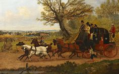 Depicts a mail coach travelling through the countryside. The coachman greets a woman carrying a basket as they pass, and a small boy runs alongside.    Artist: Henry Alken Snr (possibly Samuel Henry Alken)    Date: Early 19th Century    Reference number: OB1995.520