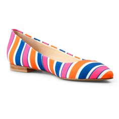 A flirty flat that is perfect for spring! CWonder Striped Canvas Pointed Toe Flat #shoes #flats #balletflats