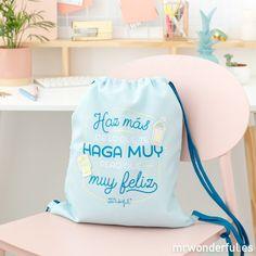 Saco - Haz más de lo que te haga muy pero que muy feliz #mrwonderfulshop #happy #happiness #bag #blue #complements #accessories