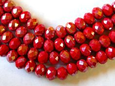 Red Beads Red 6x8mm AB Crystal Rondelle Beads 65 by wimsy on Etsy (Craft Supplies & Tools, Jewelry & Beading Supplies, Beads, red 6x8mm beads, red crystal beads, red AB crystal beads, red rondelle crystal, faceted red beads, sparkly red beads, 65 red crystal beads, wimsy)