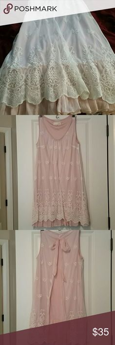 Lacy Pink Shift Dress Bought from modcloth, beautiful dusty pink color with cream colored lace over-lay. Dress is knee length on me and I'm 5'4.the bow in the back can be untied to lay flat if you want to wear something over the dress. Never worn. ModCloth Dresses Midi