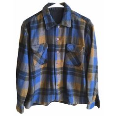 Pendleton Flannel blue and yellow plaid size large long sleeve vintage button up pure virgin wool mens womens oversized super soft worn in by VELVETMETALVINTAGE on Etsy