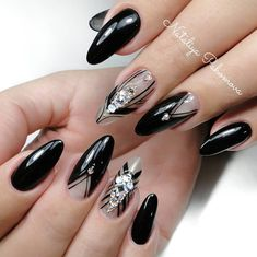 Oval black nail design with nude grey and pearl rhinestones and black detailing. Beautiful nails by Ugly Duckling family member ✨Ugly Duckling Nails page is dedicated to promoting quality, inspirational nails created by International Nail Artists Gray Nails, Black Nails, Black Nail Designs, Nail Art Designs, Nails Design, Toe Nails, Coffin Nails, French Pedicure, Diy Ombre
