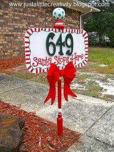 "House Address ""Santa Stops Here"" Sign Tutorial! I LOVE, LOVE, THIS!!! Tutorial here: justalittlecreati..."