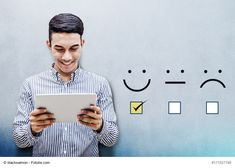 Customer Experience Concept, Happy Businessman holding digital Tablet with a checked box on Excellent Smiley Face Rating for a Satisfaction Survey Stock Photo , User Experience Design, Customer Experience, Customer Journey Mapping, Customer Feedback, Customer Service, Reputation Management, Brand Management, Management Tips, Digital Tablet