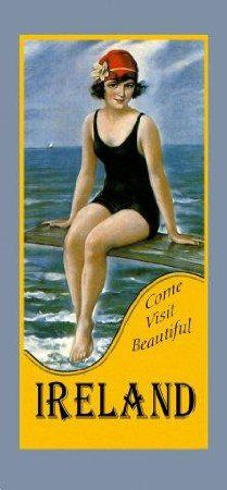 """Come Visit Ireland Irish Dublin Beautiful Girl Swim Ocean Sea Beach Travel Tourism 7"""" X 16"""" Image Size Vintage Poster Reproduction we have other sizes available"""
