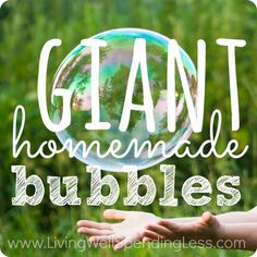 These fun and easy giant homemade bubbles are a BLAST to make and need just a few basic supplies & ingredients you probably already have on hand! Homemade Bubble Recipe, Homemade Bubbles, Summer Camps For Kids, Summer Kids, Sensory Activities, Toddler Activities, Giant Bubbles, Family Games, Summer Crafts