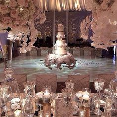 What if we do a suspended cake design in front of the ballroom doors, sort of at the head of the dance floor?