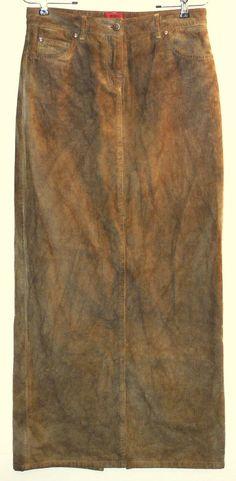 0cc2a4496 HUGO BOSS Maxi Skirt sz m Olive Green Mottled Long Cotton Corduroy Casual   HugoBoss