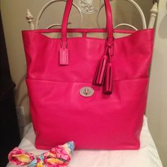 Coach Tote With Front pocket Auth Beautiful Coach large tote! Front pocket big enough for keys and phone...its 15x13x5 . Strap is 9 inch's long from the top of the bag. Very roomy lush pink/scarlet leather! Tag in 3rd pic show orig. price....Offers excepted using the offer option...excellent condition used a couple of times! Retail $298....NO TRADES ❤️ SCARF NOT INCLUDED Coach Bags Totes